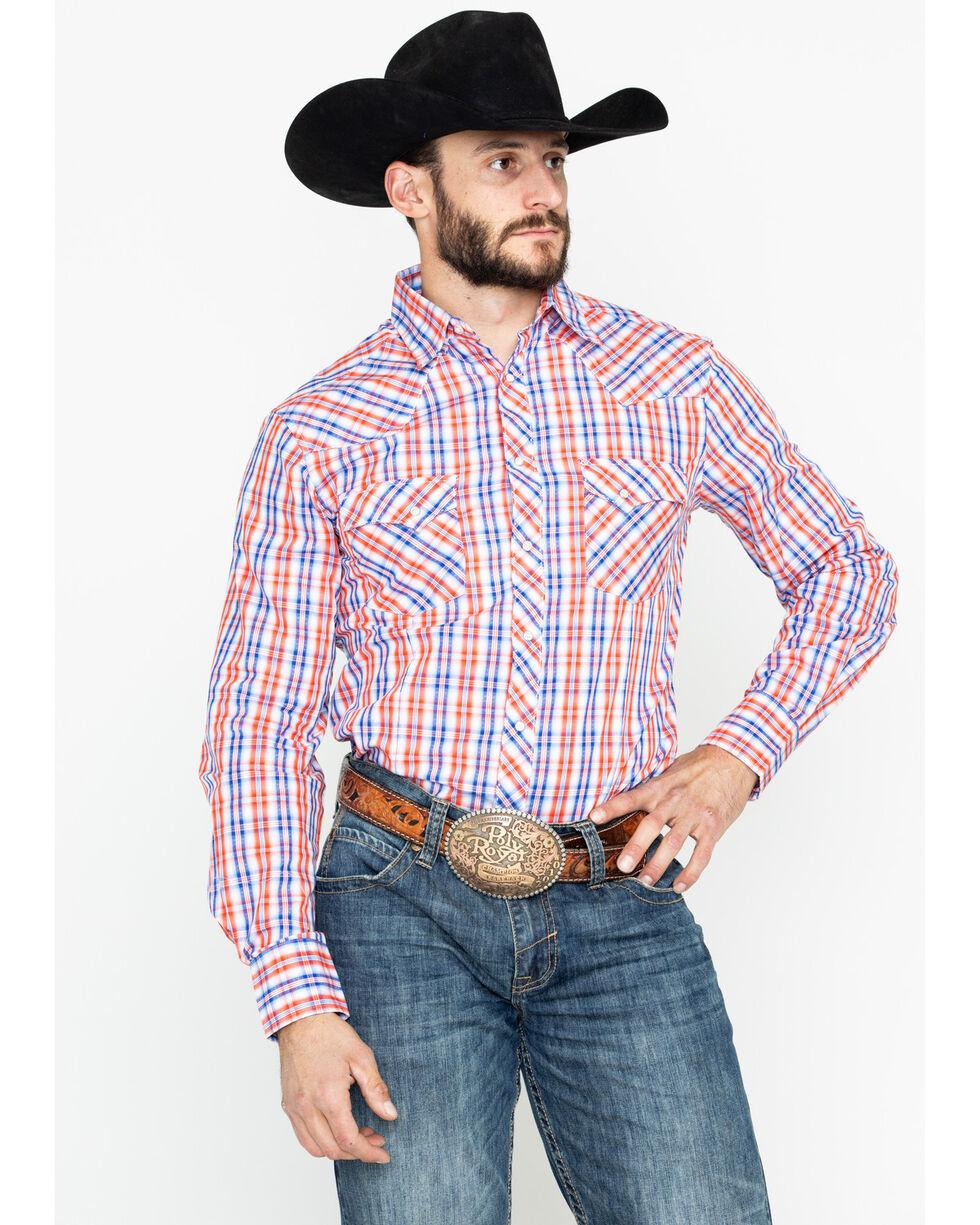 Wrangler Men's Fashion Plaid Snap Long Sleeve Western Shirt, Blue, hi-res