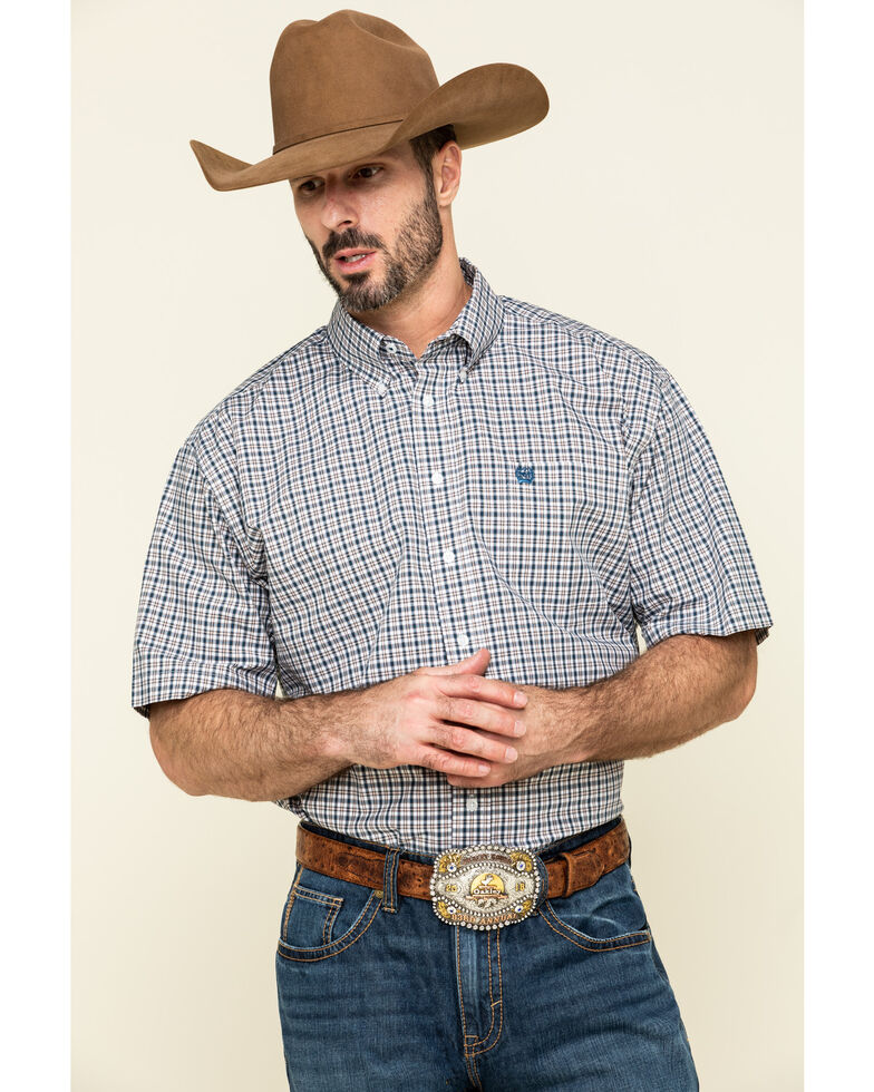 Cinch Men's Multi Small Plaid Weave Button Short Sleeve Western Shirt , Multi, hi-res