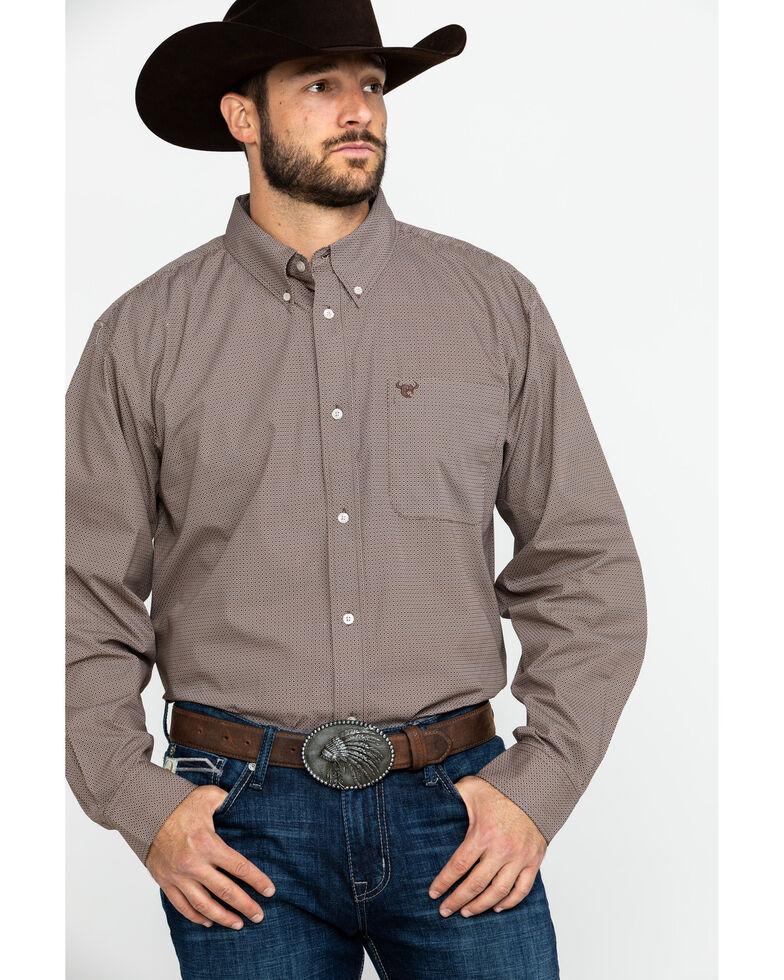 Cowboy Hardware Men's Micro Star Geo Print Long Sleeve Western Shirt , Chocolate, hi-res