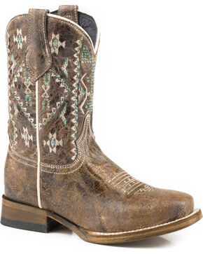Roper Girls' Out West Aztec Embroidered Cowgirl Boots - Square Toe, Brown, hi-res