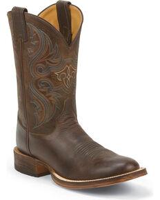 Justin Men's Lahoma Bent Rail Cowboy Boots - Round Toe, Chocolate, hi-res