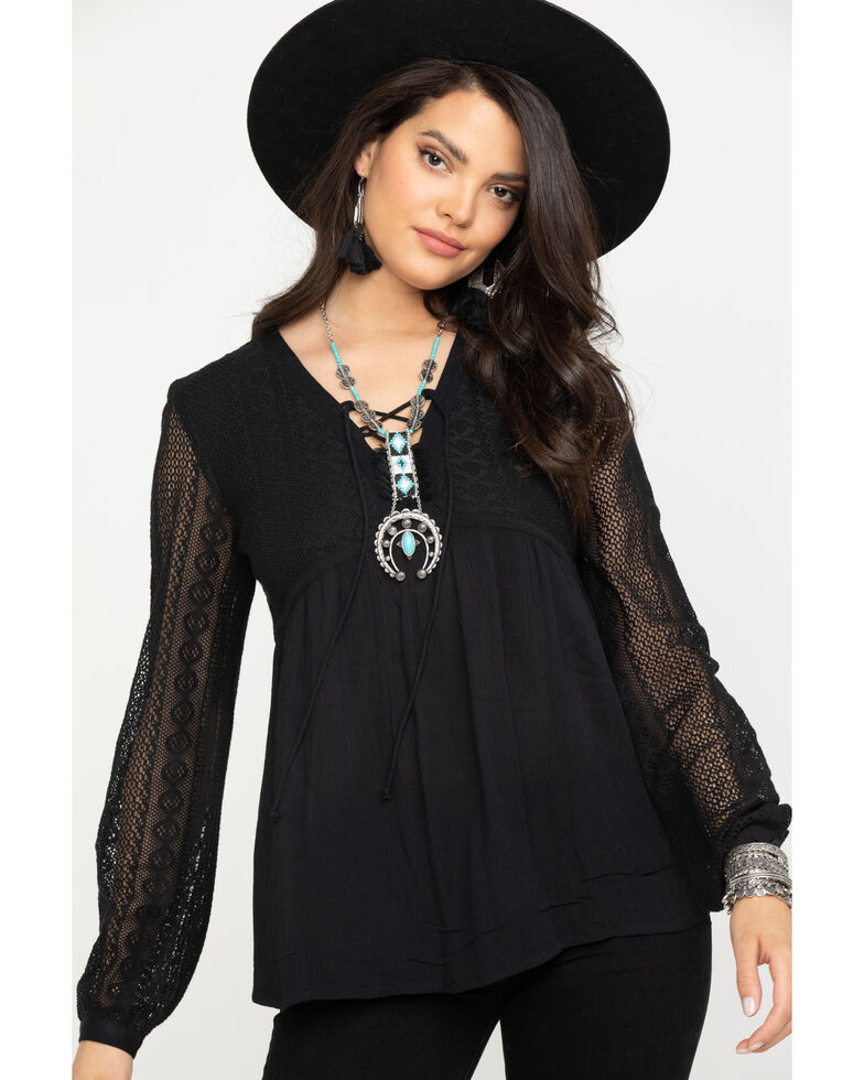 Roper Women's Black Peasant Blouse , Black, hi-res