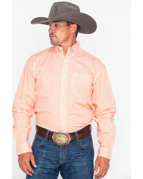 Wrangler 20X Men's Orange Competition Advanced Comfort Long Sleeve Western Shirt, Orange, hi-res