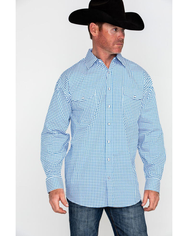 Panhandle Select Men's Poplin Geo Print Long Sleeve Western Shirt , Blue, hi-res