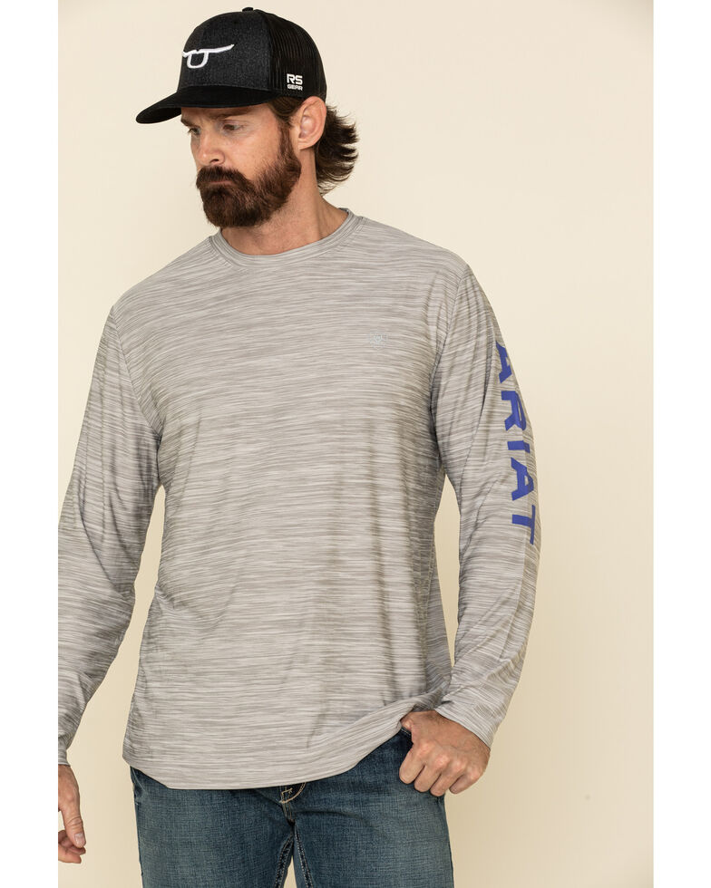 Ariat Men's Heather Grey Charger Logo Graphic Long Sleeve T-Shirt , Grey, hi-res