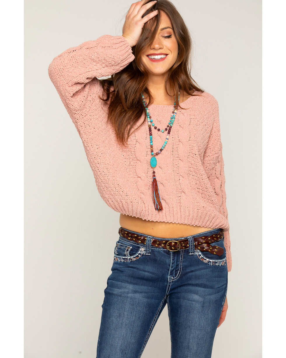 Shyanne Women's Blush Chenille Cropped Cable Sweater, Blush, hi-res