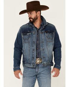 Wrangler Retro Men's Arabian Medium Wash Unlined Button-Front Denim Jacket , Indigo, hi-res