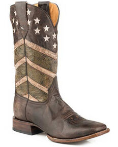 Roper Men's Deadwood Western Boots - Square Toe, Brown, hi-res