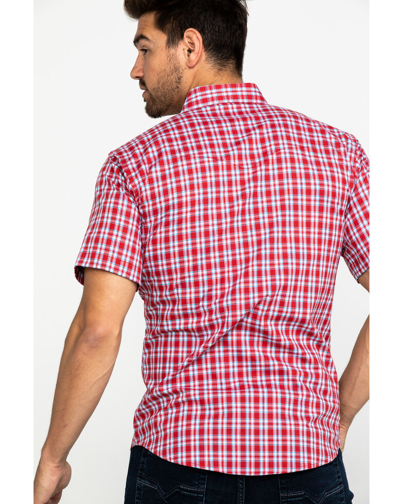Wrangler Men's Wrinkle Resist Red Plaid Short Sleeve Western Shirt , Red, hi-res