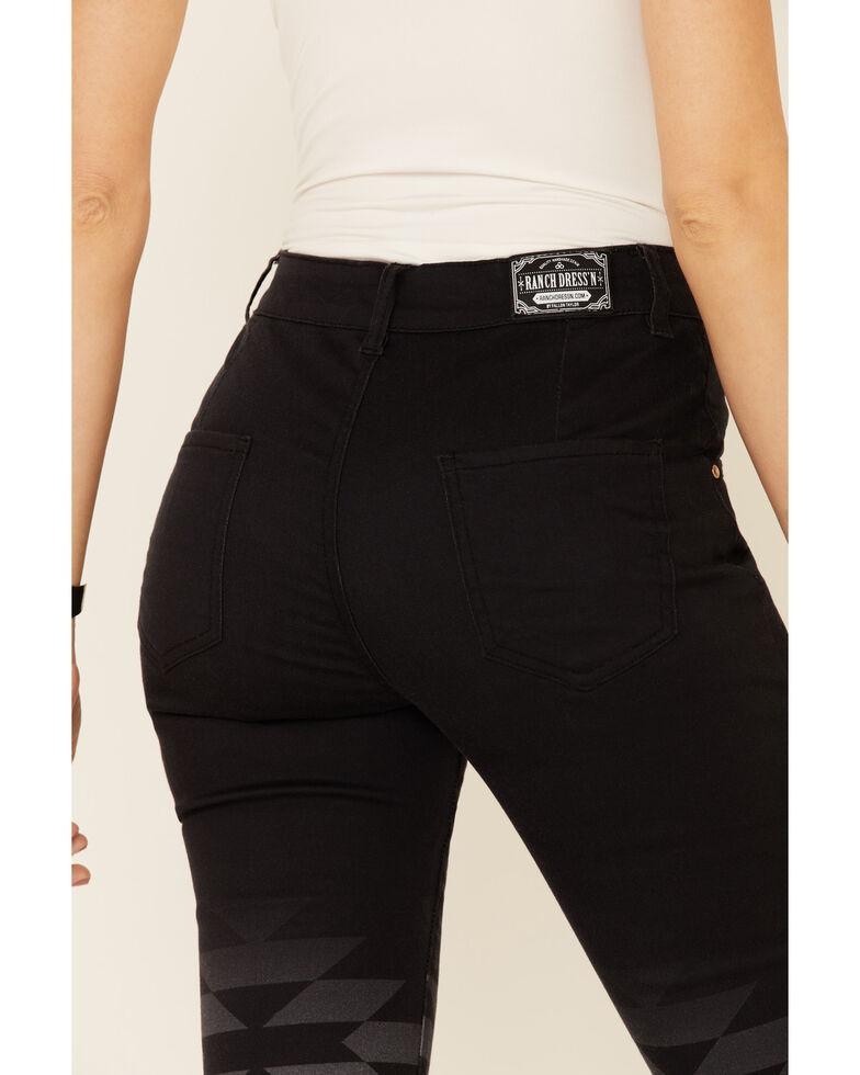 Ranch Dress'n Women's Black Del Rio Aztec Flare Jeans, Black, hi-res
