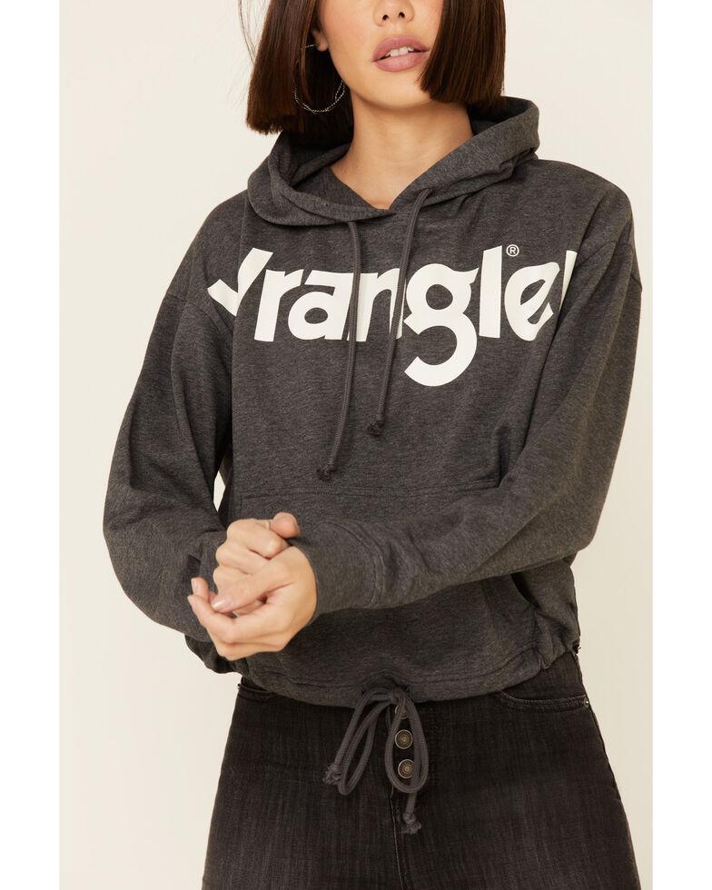 Wrangler Women's Charcoal Logo Graphic Cinch Waist Crop Hoodie , Charcoal, hi-res