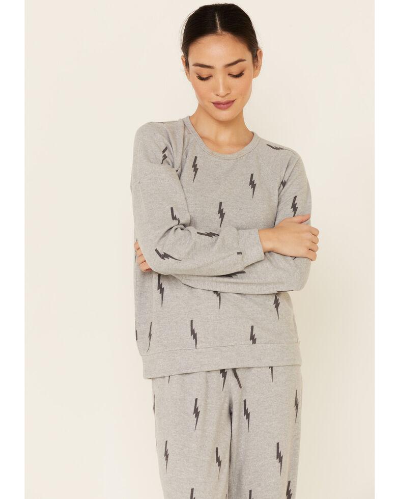 PJ Salvage Women's Stormy Monday Bolt Print Long Sleeve Top , Heather Grey, hi-res