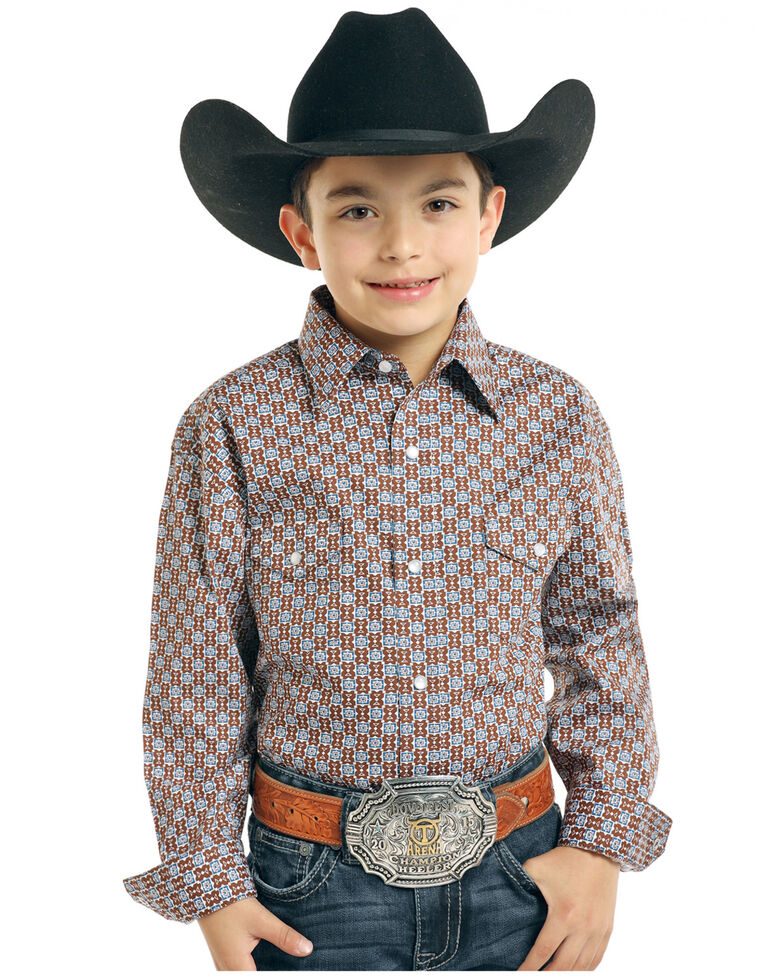 Rough Stock by Panhandle Boys' Tonopah Vintage Print Long Sleeve Western Shirt , Brown, hi-res