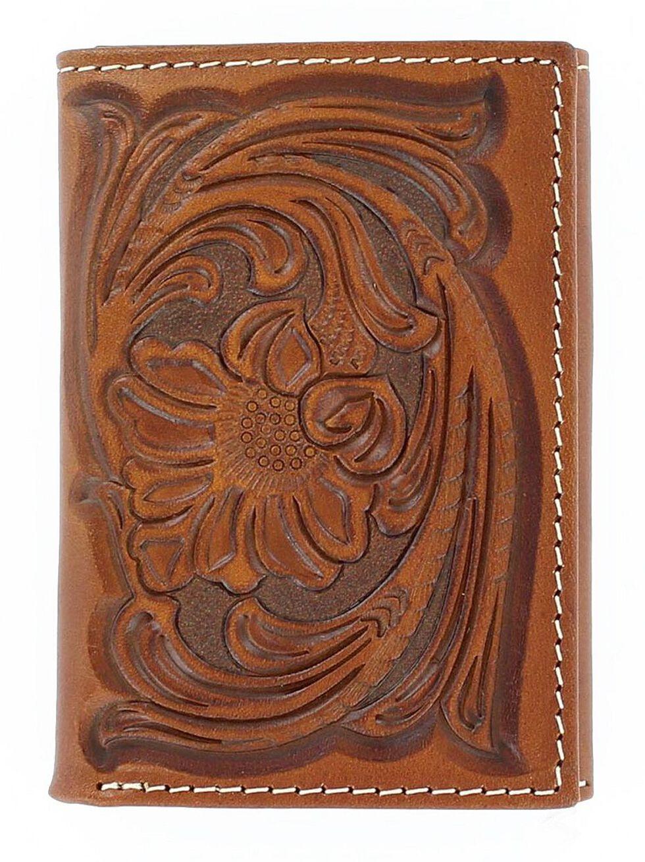 Nocona Floral Tooled Tri-fold Wallet, Tan, hi-res