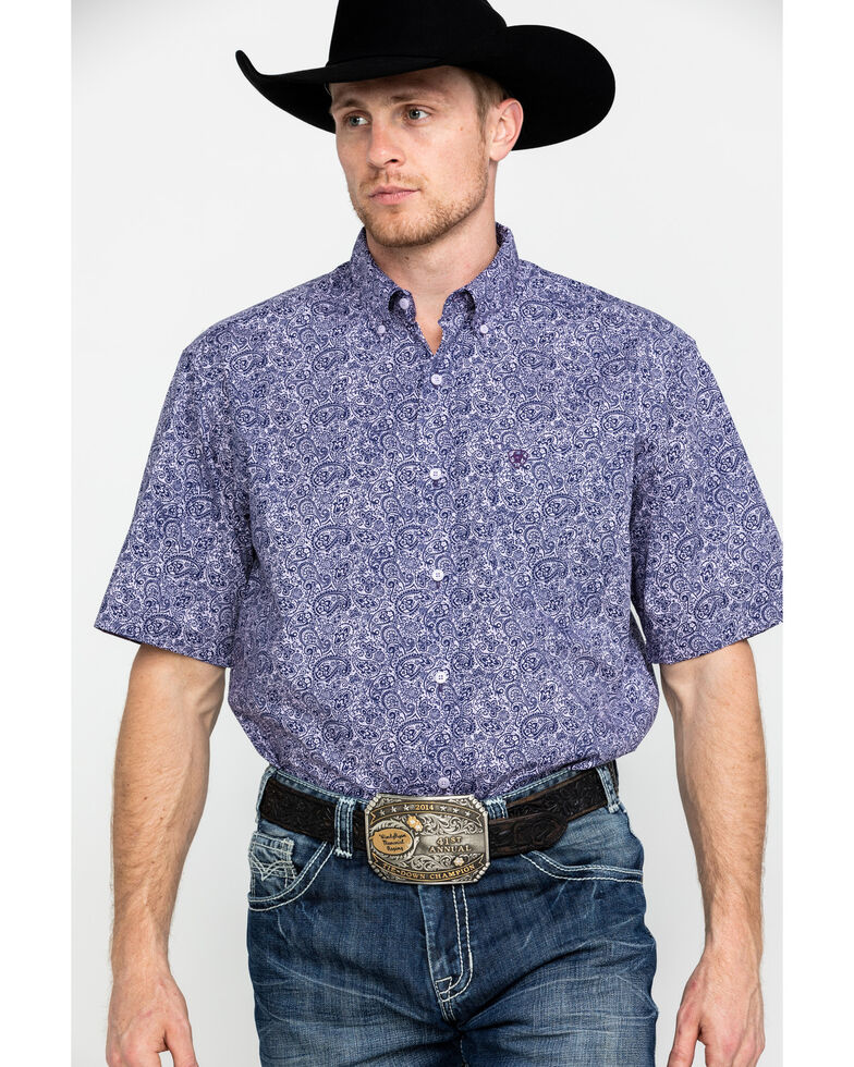Ariat Men's Stallings Paisley Print Short Sleeve Western Shirt , Purple, hi-res