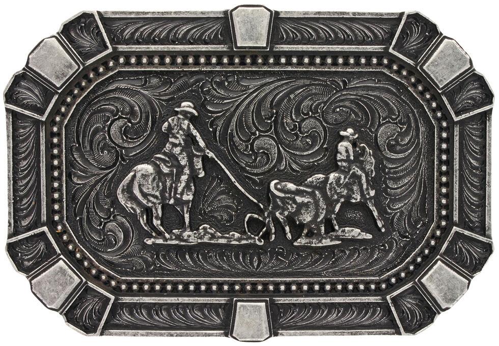 Montana Silversmiths Classic Impressions Team Roper Attitude Belt Buckle, Silver, hi-res