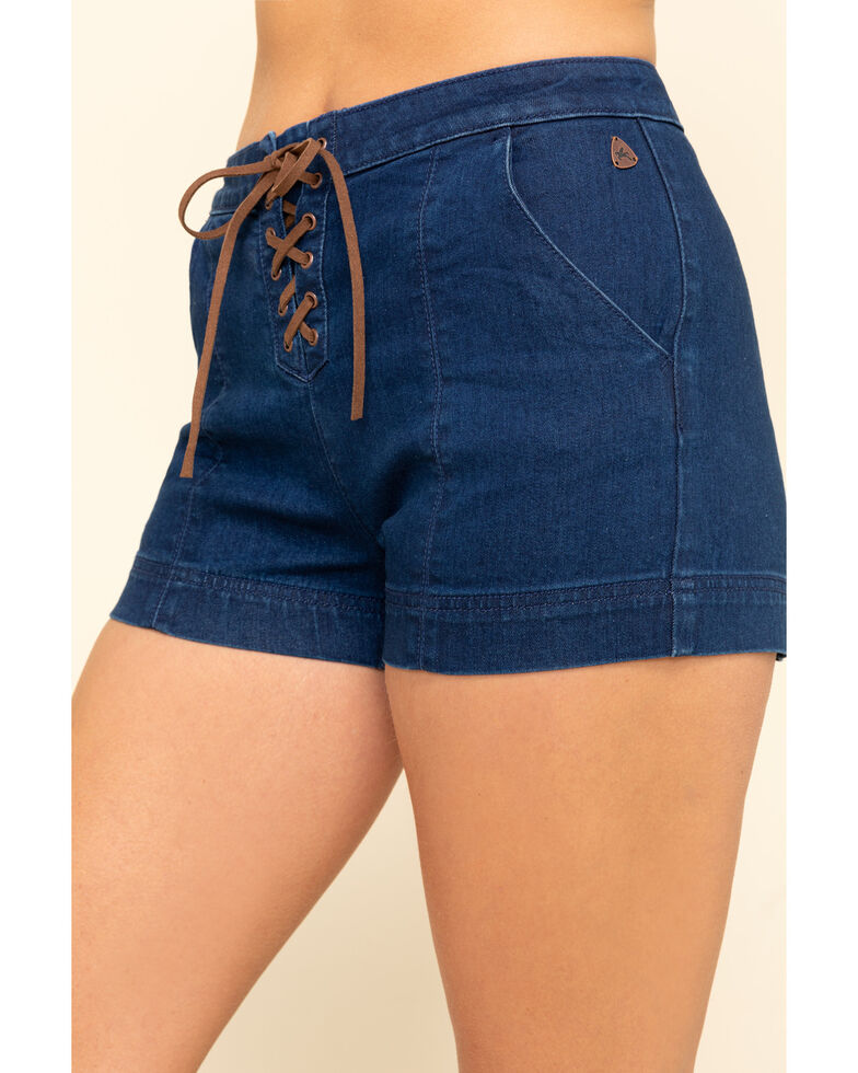 Idyllwind Women's Rider High Rise Lace Up Shorts, Blue, hi-res