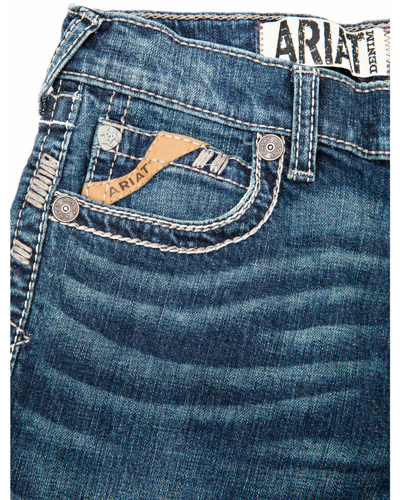 Ariat Boys' B4 Scout Jett Pocket Stretch Relaxed Bootcut Jeans , Blue, hi-res