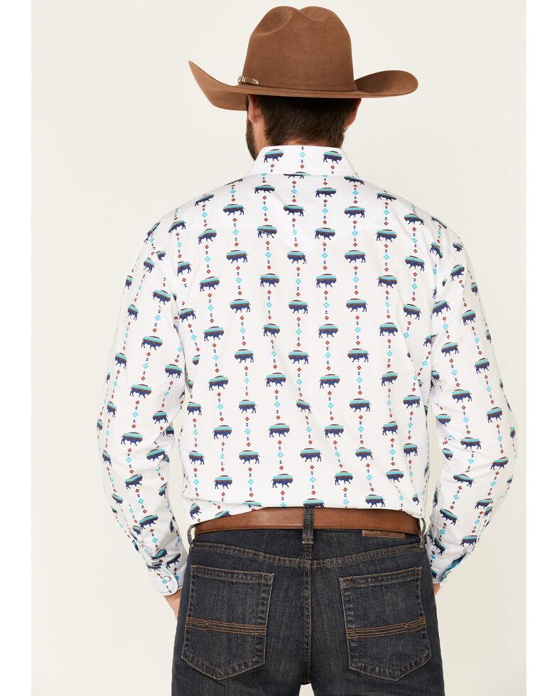 Rough Stock By Panhandle Men's White Buffalo Print Long Sleeve Western Shirt , Multi, hi-res