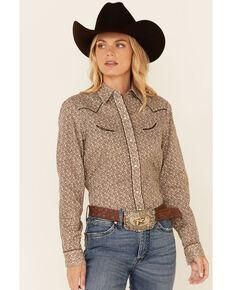 Roper Women's Brown & Cream Floral Print Long Sleeve Snap Western Core Shirt , Brown, hi-res