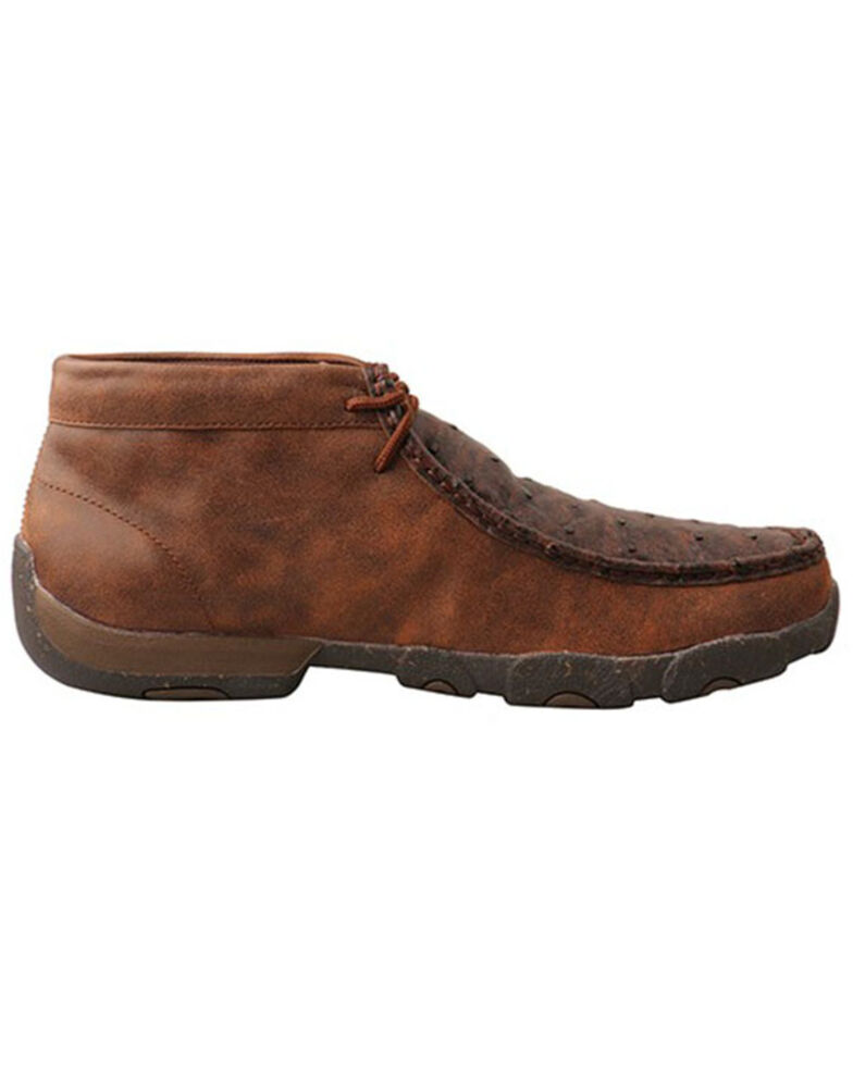 Twisted X Men's Ostrich Chukka Shoes - Moc Toe, Brown, hi-res