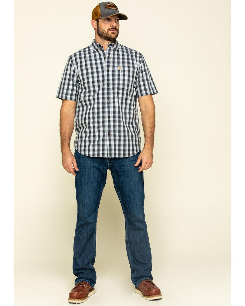 Carhartt Men's Navy Essential Plaid Button Down Short Sleeve Work Shirt , Navy, hi-res