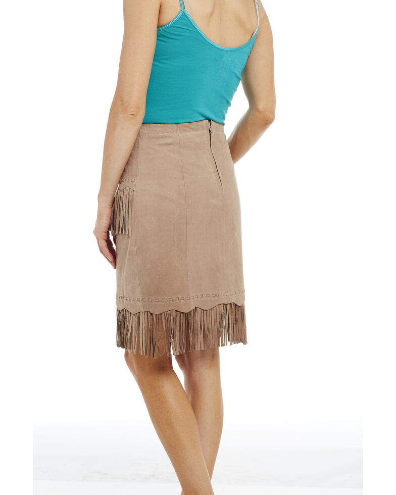 Cripple Creek Women's Hand Laced Nubuck Lamb Skirt , Tan, hi-res