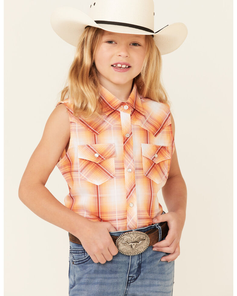 Ely Walker Girls' Orange Plaid Sleeveless Snap Western Shirt , Orange, hi-res