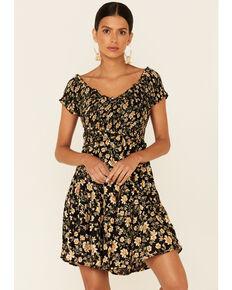 Angie Women's Daisy Smocked Crossover Dress, Black, hi-res