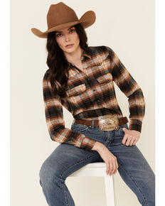 Shyanne Life Women's Pink Plaid Flannel Long Sleeve Snap Western Shirt , Pink, hi-res