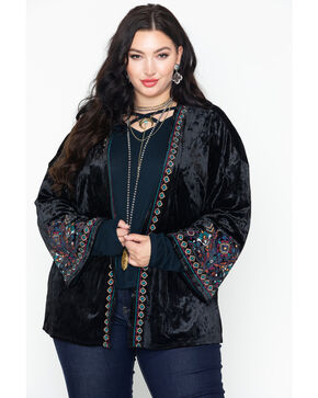 Eyeshadow Women's Aztec Velvet Boho Embroidered Long Sleeve Kimono - Plus Size, Black, hi-res