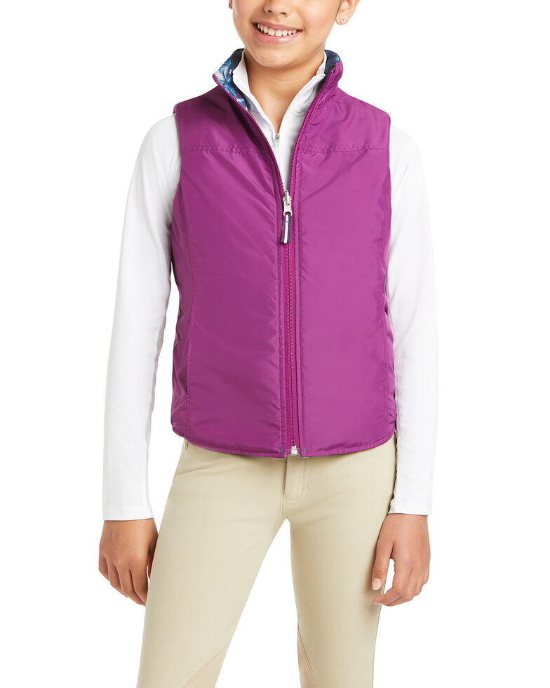 Ariat Girls' Multi Emma Reversible Insulated Vest, Navy, hi-res