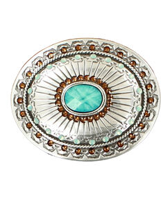 Blazin Roxx Silver Plated Topaz and Opal Belt Buckle, Silver, hi-res