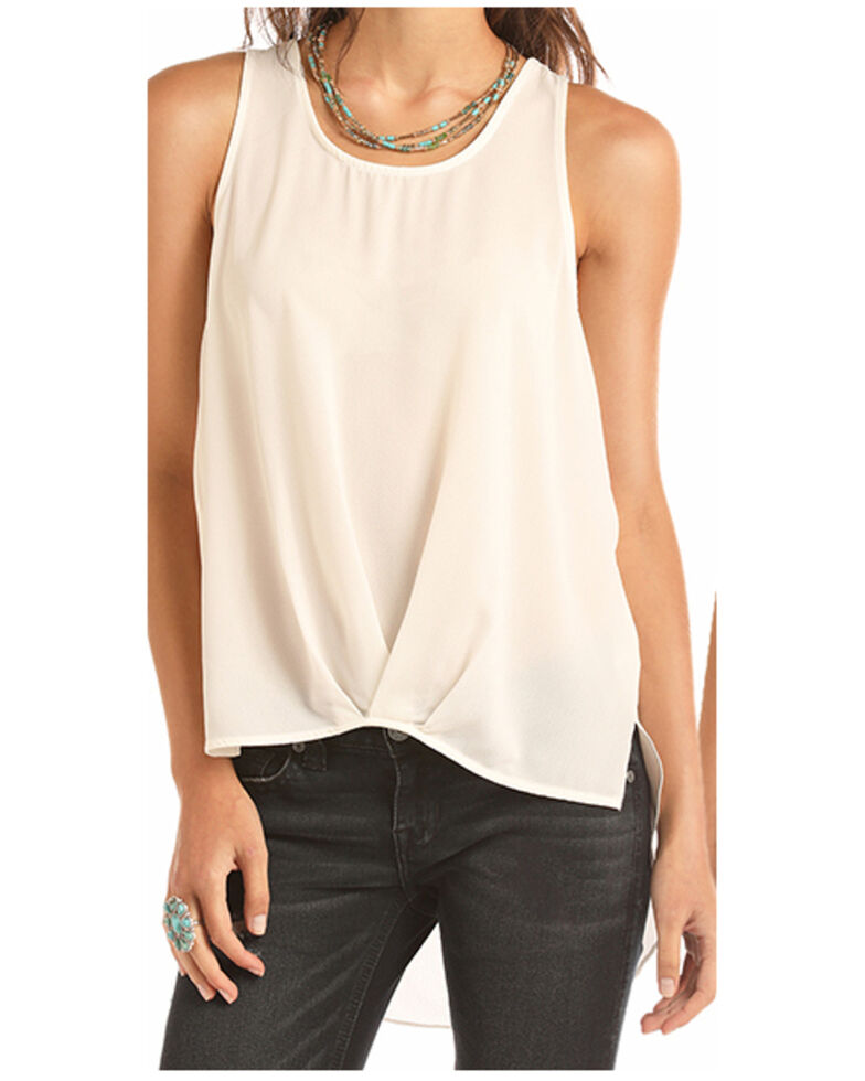 Rock & Roll Denim  Women's Ivory Pleated Tank Top , Ivory, hi-res