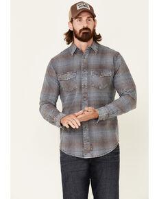 Wrangler Retro Premium Men's Blue Check Plaid Button-Down Western Shirt , Blue, hi-res