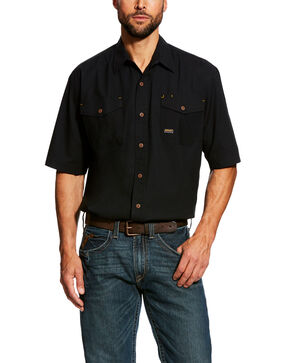Ariat Men's Black Rebar Made Tough Vent Short Sleeve Work Shirt , Black, hi-res