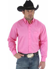Wrangler Men's Tough Enough To Wear Pink Solid Shirt - Tall , Pink, hi-res