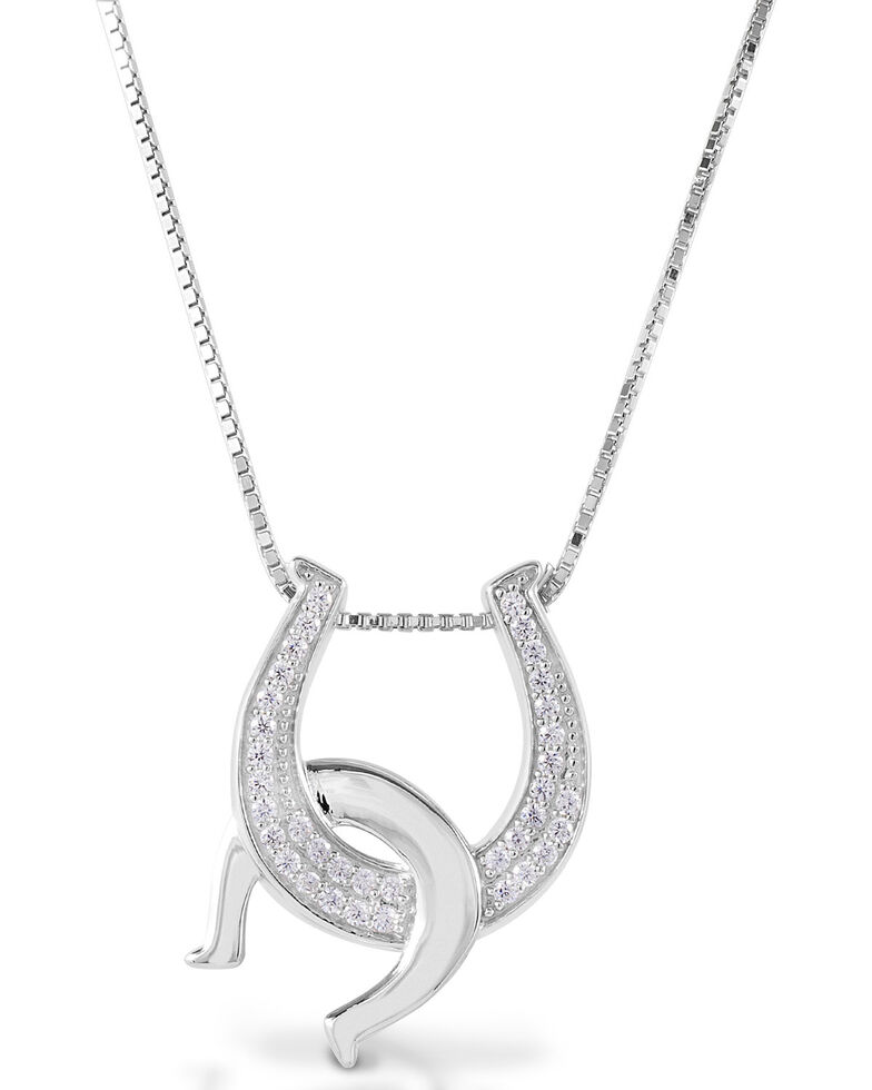 Kelly Herd Women's Clear Double Horseshoe Necklace , Silver, hi-res