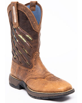 Shyanne Women's Xero Lite Flag Western Boots - Square Toe, Brown, hi-res