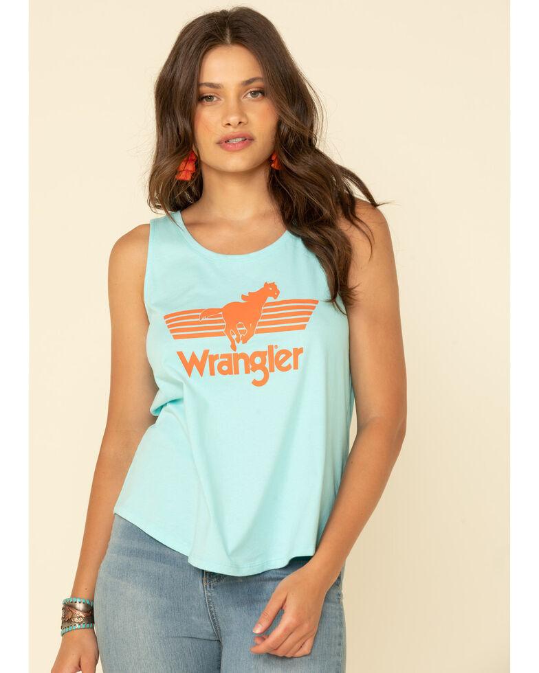 Wrangler Women's Retro Bronco Logo Graphic Tank Top, Blue, hi-res