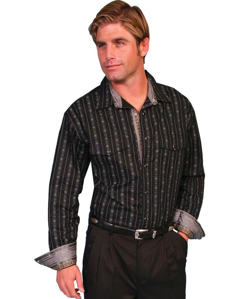 Scully Fancy Striped Western Shirt, Black, hi-res