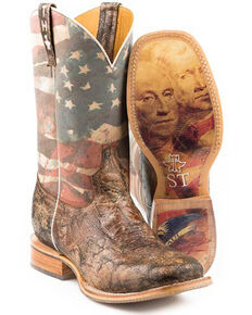 Tin Haul Men's Land Of The Free Western Boots - Wide Square Toe, Brown, hi-res