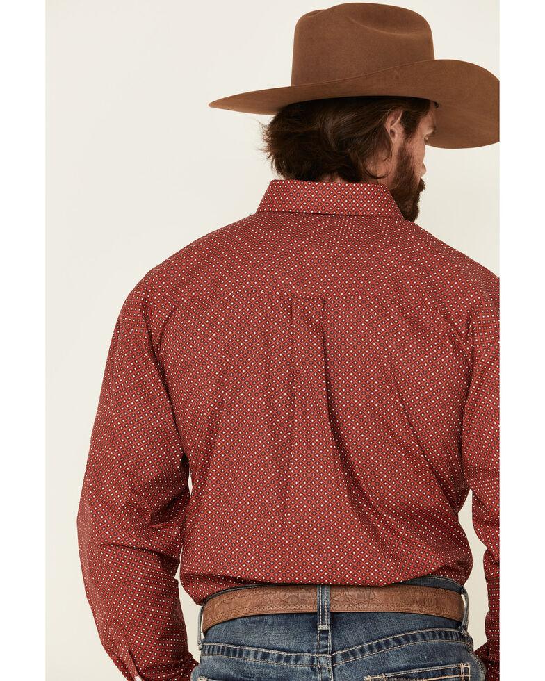 George Strait By Wrangler Men's Red Diamond Geo Print Long Sleeve Western Shirt , Red, hi-res