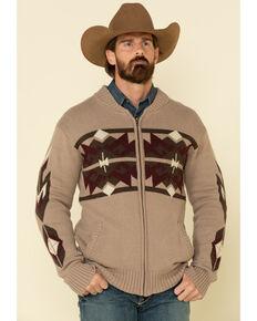 Stetson Men's Original Rugged Brown Aztec Heather Knit Cardigan Sweater , Brown, hi-res