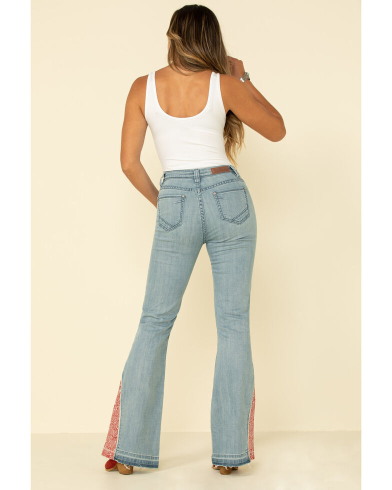 Rock & Roll Denim Women's Button Bandana Hem Trousers, Blue, hi-res