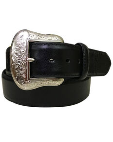 Roper Men's Black Padded Strap Genuine Leather Belt , Black, hi-res