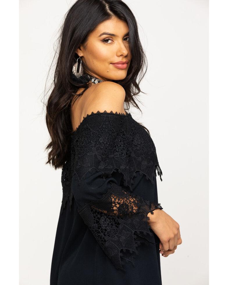 Shyanne Women's Lace Trim Peasant Dress , Black, hi-res
