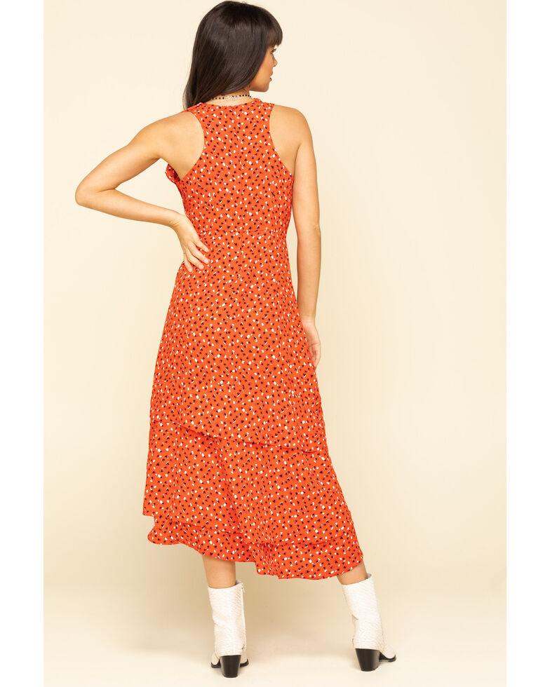 Molly Bracken Women's Black Sweet Heart Ruffle Wrap Dress, Red, hi-res
