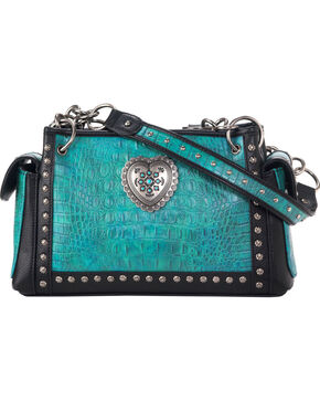 Blazin Roxx Women's Ginger Satchel Heart Purse , Turquoise, hi-res