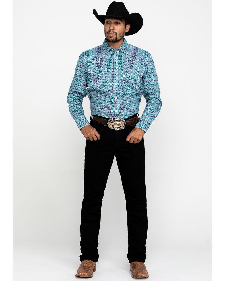 Wrangler 20X Men's Advanced Comfort Teal Geo Print Long Sleeve Western Shirt , Teal, hi-res